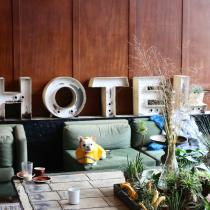 'HOTEL' large words background photo